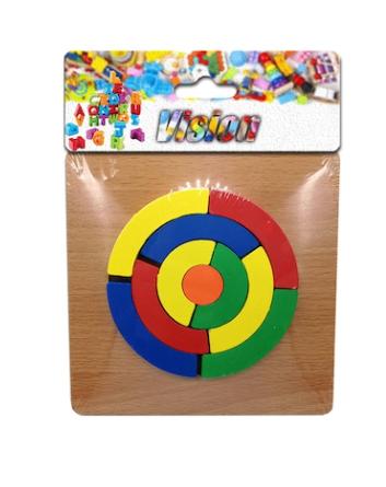 Puzzle lemn incastru 12 piese, cerc, 15x15cm, Vision [0]