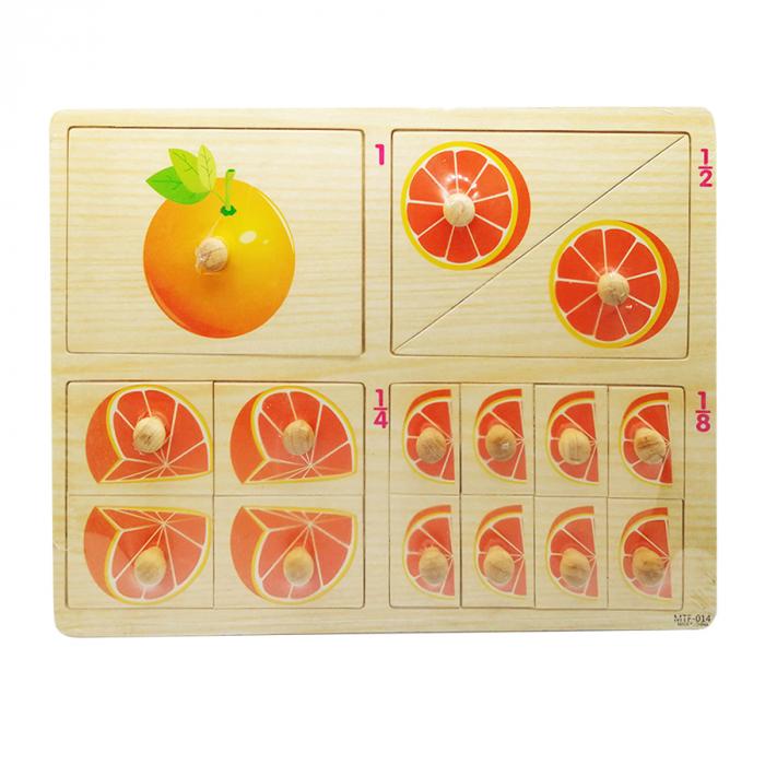 Puzzle lemn Vision, incastru, portocala, operatii de impartire, 16 piese [0]