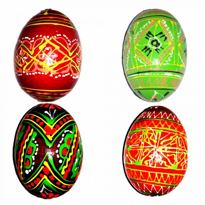 Set 4 oua Vision din lemn incondeiate manual [0]