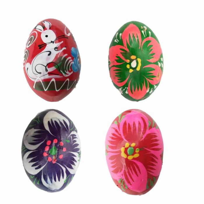 Set 4 oua pictate Vision din lemn natur [0]