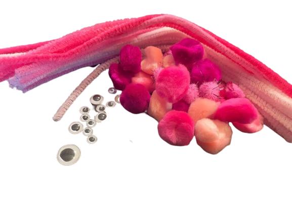 Set craft Vision, sarma plusata 24 buc, pom-pom / ochisori diferite marimi [1]