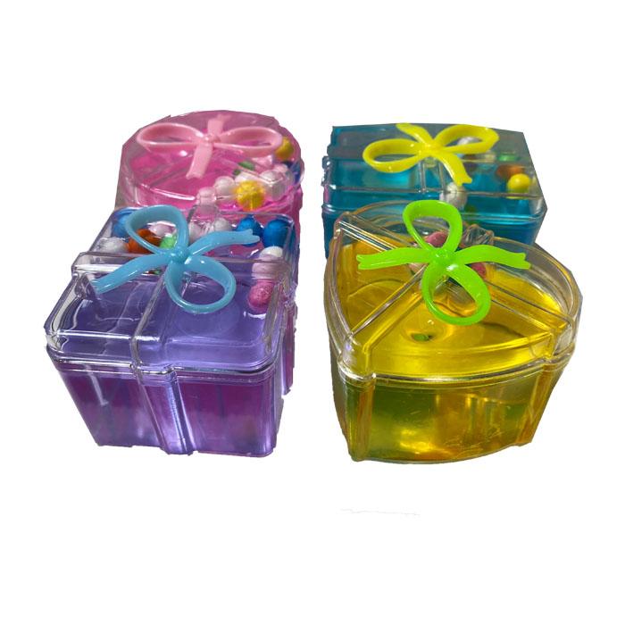 Set de 4 slime gelatina colorata, in cutiute de cadou, cu bilute colorate, diverse culori- Vision [0]