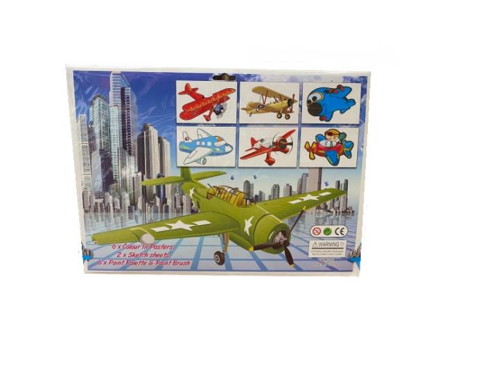 Set de 6 planse Vision de desenat, format A3 cu avioane cu acuarele si pensula [1]