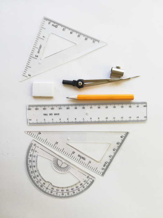 Set de geometrie de metal, 7 piese, Vision [1]