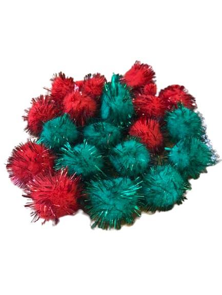 Set de pom-pom-uri pentru creatie Vision, Verde/Rosu [1]