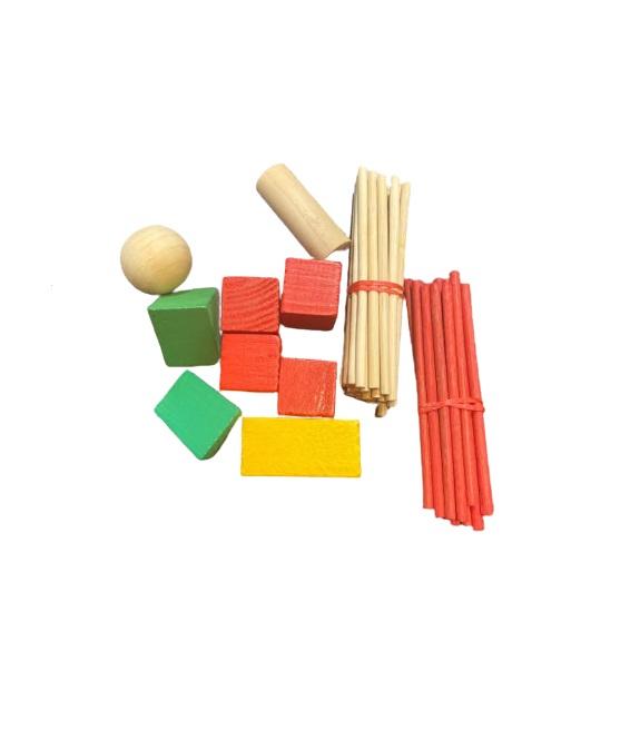 Set forme geometrice si betisoare din lemn Vision [0]