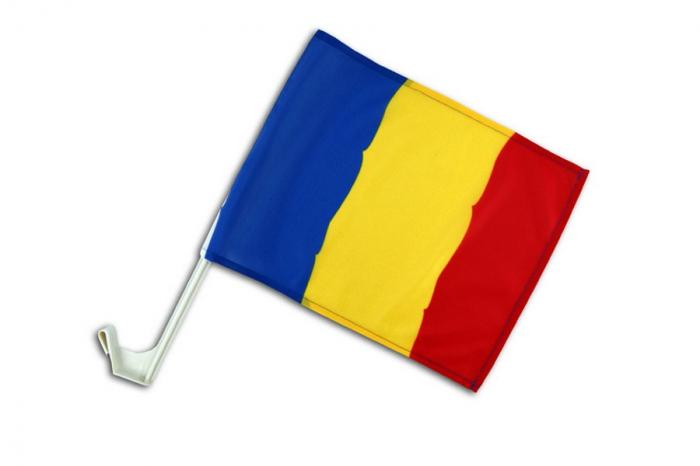 Steag auto Romania Vision cu suport de prindere [0]