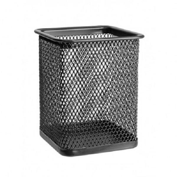 Suport din  plasa metalica Vision, pentru pixuri forma patrata 7x7x10cm, negru [0]