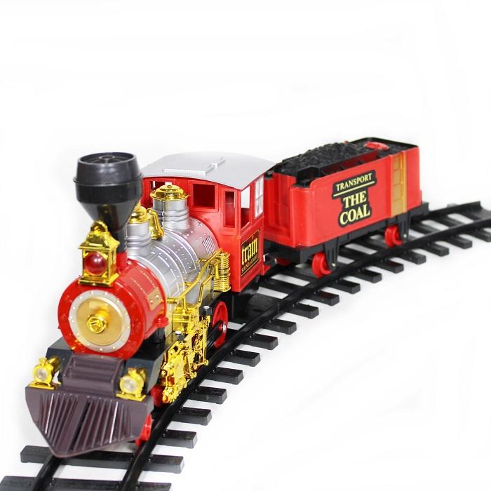 Tren cu radiocomanda Vision, locomotiva clasica cu aburi, vagon de carbuni [4]