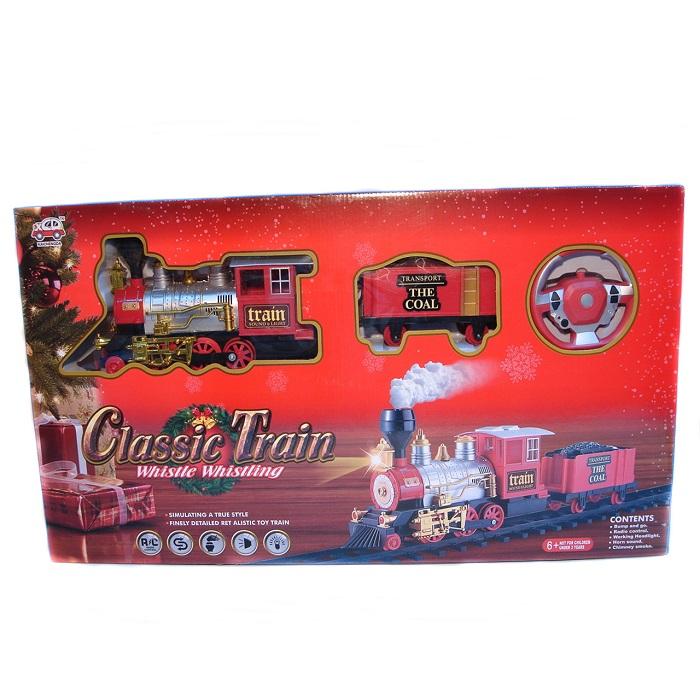 Tren cu radiocomanda Vision, locomotiva clasica cu aburi, vagon de carbuni [0]