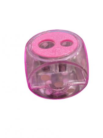 Ascutitoare Vision roz dubla cu rezervor sub forma de zar- 4 cm [0]