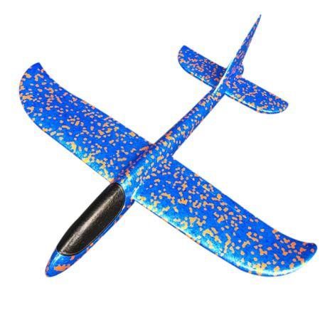 Avion planor din polistiren, lungime 30 cm, Albastru, Vision [0]