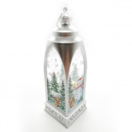 Felinar 15 cm, cu led lumina calda, motive de Craciun, argintiu-Vision [0]