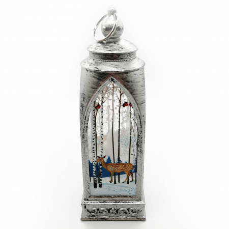 Felinar 15 cm, cu led lumina calda, motive de Craciun, argintiu antichizat-Vision [0]