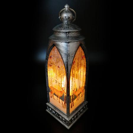 Felinar 15 cm, cu led lumina calda, motive de Craciun, argintiu antichizat-Vision [5]