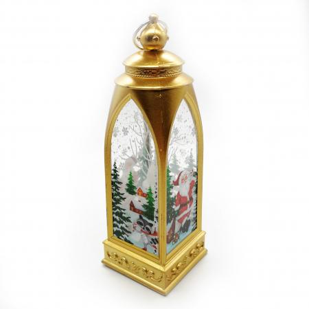 Felinar 15 cm, cu led lumina calda, motive de Craciun, auriu- Vision [3]