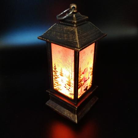 Felinar Craciun - Vision,13 cm cu lumina LED calda sclipitoare, culoare bronz maro [1]