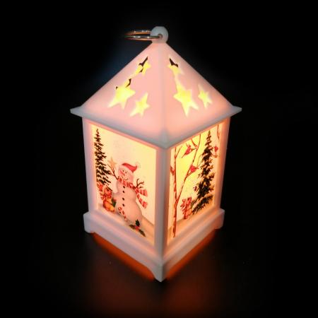 Felinar cu motive de  Craciun -Vision, 12 cm cu lumina LED calda, sclipitoare, alb [1]