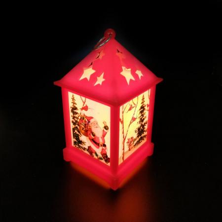 Felinar cu motive de  Craciun - Vision, 12 cm cu lumina LED calda, sclipitoare, rosu [1]