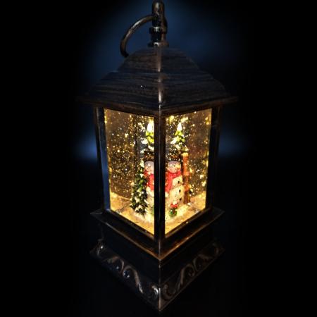 Felinar cu motive de Craciun, Vision, glob cu apa, efecte de ninsoare 27 cm, cu lumina LED, culoare bronz [3]