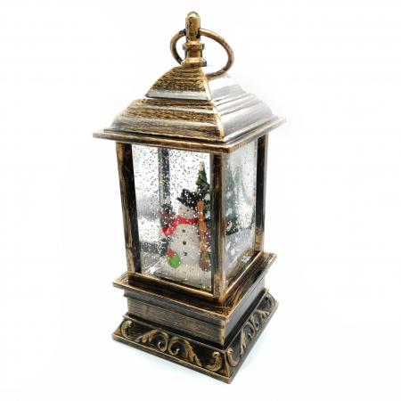 Felinar cu motive de Craciun, Vision, glob cu apa, efecte de ninsoare 27 cm, cu lumina LED, culoare bronz [0]