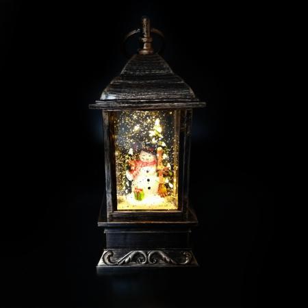 Felinar cu motive de Craciun, Vision, glob cu apa, efecte de ninsoare 27 cm, cu lumina LED, culoare bronz [2]