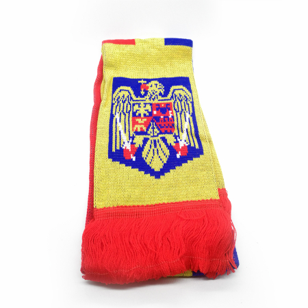 Fular Tricolor Romania, tricotat,15x160 cm, cu franjuri Vision [0]