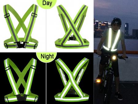 Ham reflectorizant reglabil Day and Night, Vision, material elastic, banda 4cm, verde, unisex, universal [2]