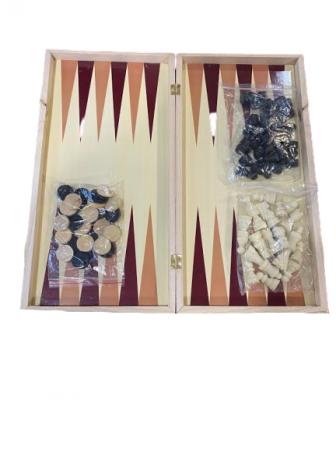 Joc de sah, table si dame - Vision  29x29 cm din lemn, cu toate piesele incluse. [0]
