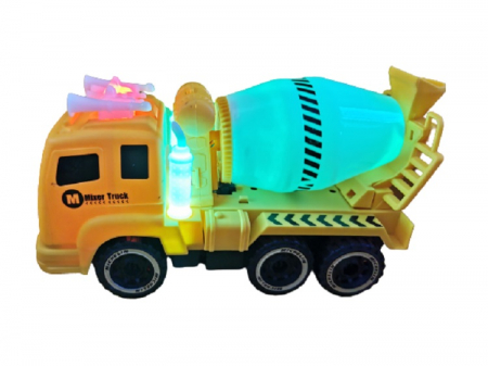 Jucarie pentru baieti, camion tip betoniera pentru constructii, cu baterii, sunet si lumina, aspect realist, galben cu negru, Vision [0]