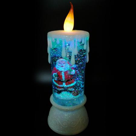 Lumanare Craciun cu led luminos, Vision, alb, efect de ninsoare in glob cu apa, 28 cm [1]