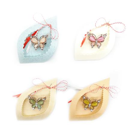 """Martisor Brosa """"Fluture de gheata"""" Vision, stilizat, pe carton decupat - set de 4 bucati [0]"""