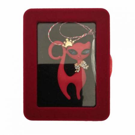 "Martisor Brosa mare ""Red Cat"" in cutie de catifea cu fereastra Vision [1]"