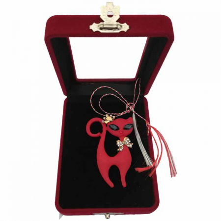"Martisor Brosa mare ""Red Cat"" in cutie de catifea cu fereastra Vision [0]"