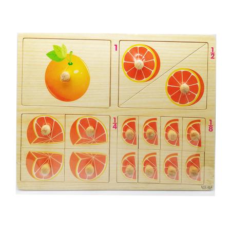 Puzzle lemn Vision, incastru, portocala, operatii de impartire, 16 piese [1]