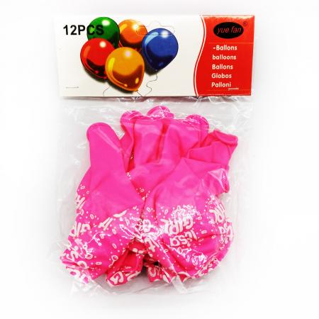 "Set 10 baloane Vision ""Este fetita!"", roz [0]"