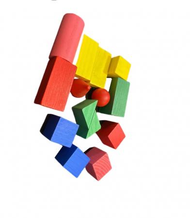 Set de cuburi si forme geometrice din lemn- Vision [0]