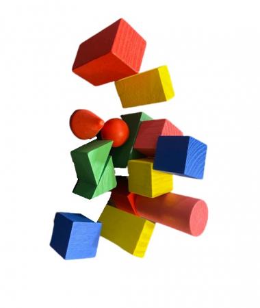 Set de cuburi si forme geometrice din lemn- Vision [1]