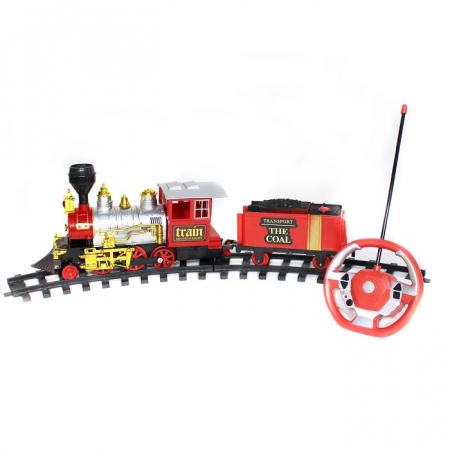 Tren cu radiocomanda Vision, locomotiva clasica cu aburi, vagon de carbuni [1]