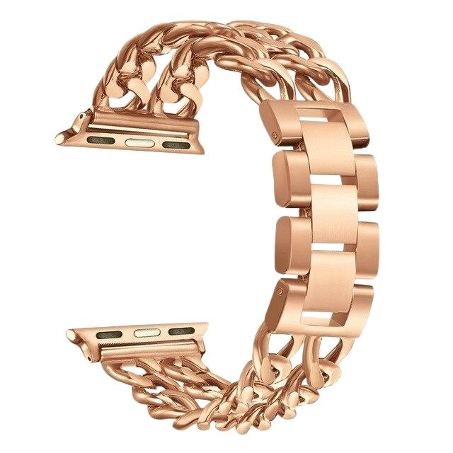 Bratara Apple Watch Metalica Denim Chain Gold Rose 38/40mm [0]