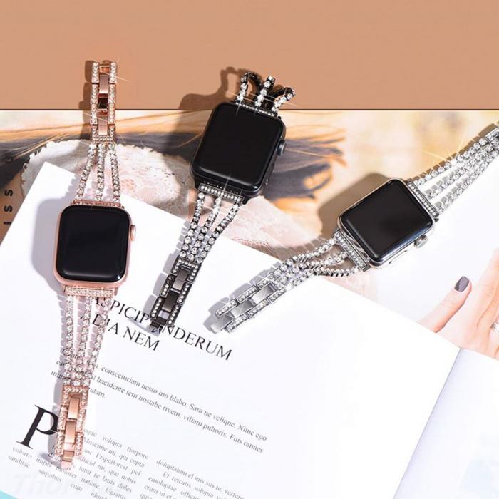 Bratara Apple Watch Metalica Luxury Charms Neagra 38/40mm [6]
