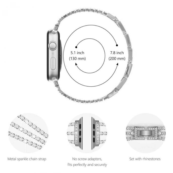 Bratara Apple Watch Metalica Luxury Charms Neagra 38/40mm [8]