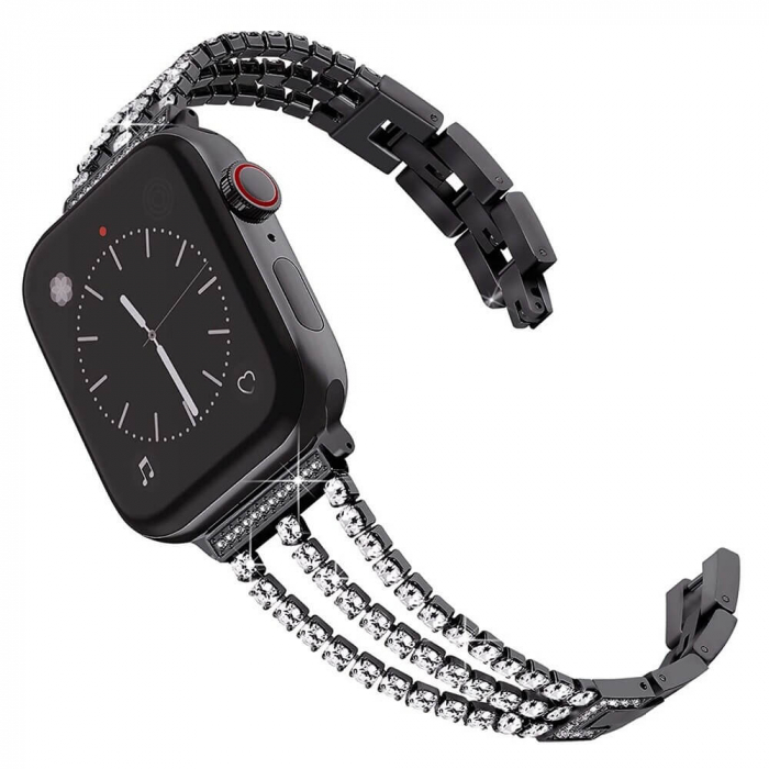 Bratara Apple Watch Metalica Luxury Charms Neagra 38/40mm [5]