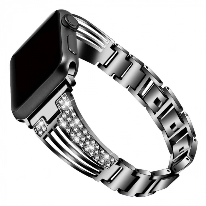 Bratara Apple Watch Metalica Luxury Stainless Steel Black 38/40mm [0]
