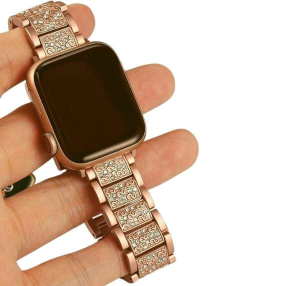 Bratara Apple Watch Metalica Luxury Link Rose Gold 38/40mm [3]