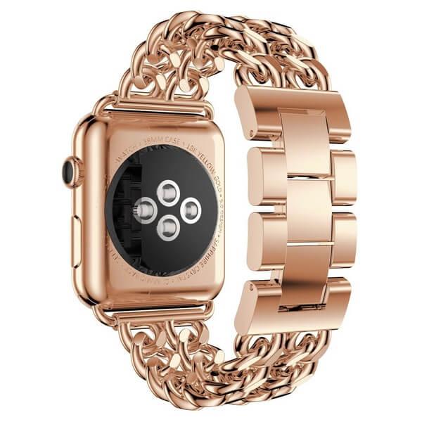 Bratara Apple Watch Metalica Denim Chain Gold Rose 38/40mm [1]