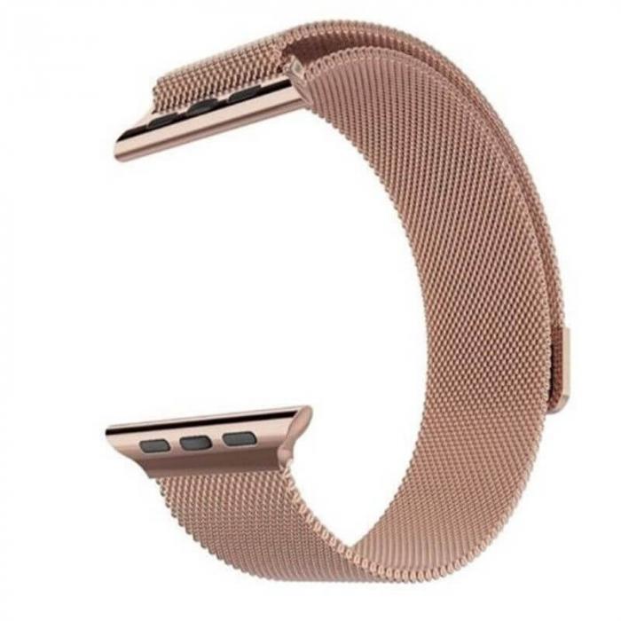 Bratara Apple Watch Milanese Loop Gold Rose cu prindere magnetica 42/44mm [0]