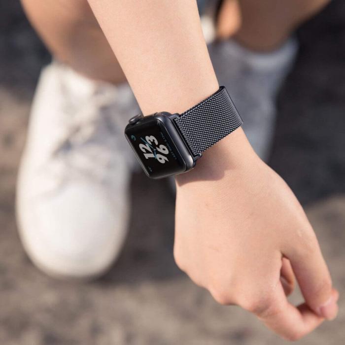 Bratara Curea Apple Watch Metalica Magnetica Milanese Loop neagra 42/44mm [8]