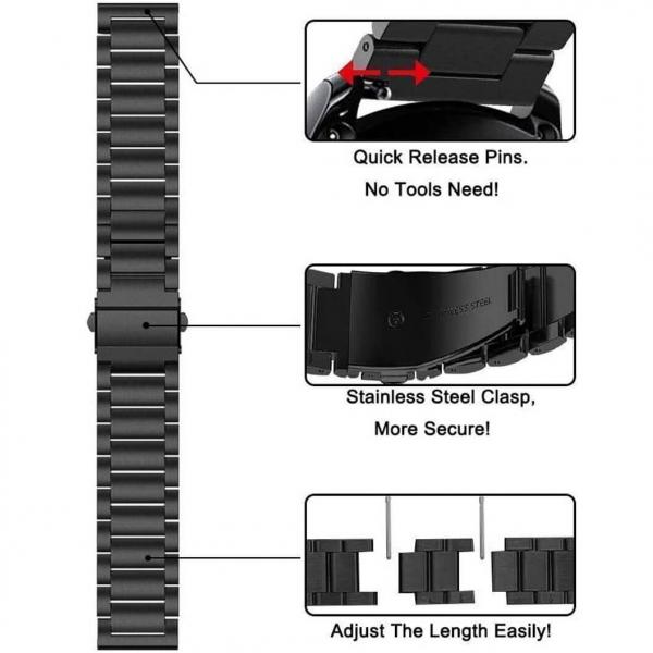 Bratara curea ceas metalica neagra 22mm [5]