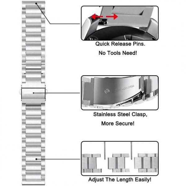 Bratara curea ceas metalica argintie 22mm [5]